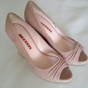 Pink Suede Prada Wedges